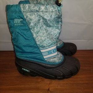 Sorel girls womens 5 blue snowflake winter boots